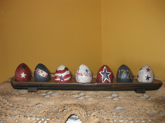 Set of 7 - Red, White, & Blue-primitive,hand painted,paper mache eggs,Americana