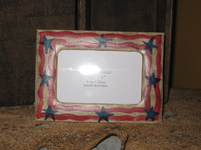 PM - Picture Frame - Red, White, & Blue-picture frame,paper mache,primitive,hand painted,Americana