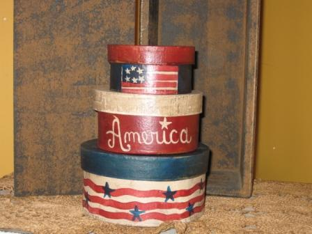 PM - Boxes - Red, White, & Blue, set of 3-boxes,paper mache,primitive,hand painted,Americana