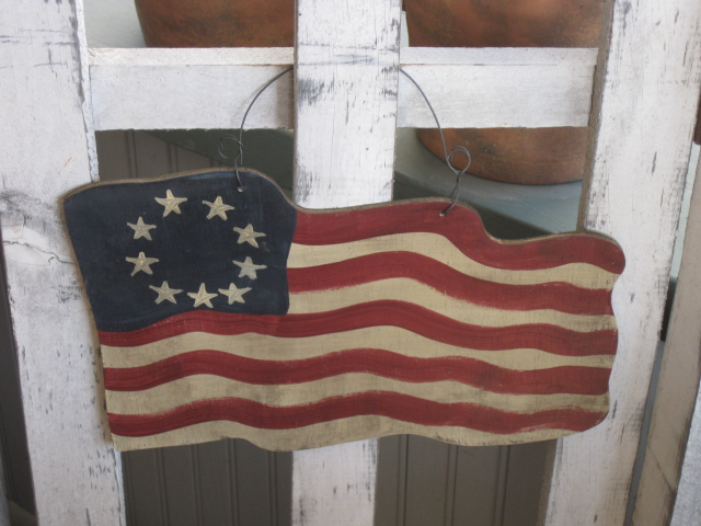 W - Flag-flag,primitive,hand painted,wood